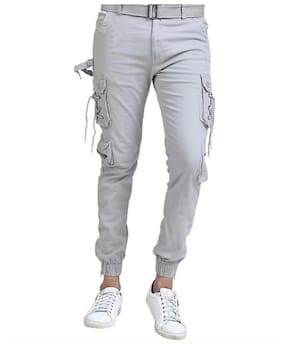 Keyur Men Grey Solid Regular fit Travel friendly Cargos