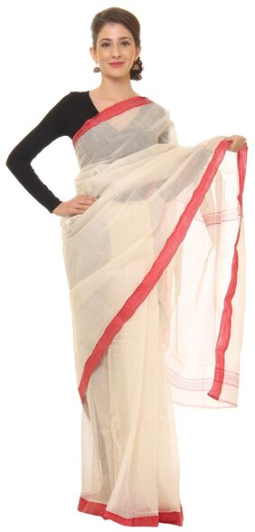 Khadi Women White With Red Border Printed Saree With Blouse