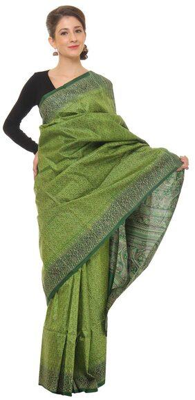 Khadi Women Green Printed Silk Saree With Blouse