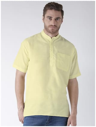 KHADIO Men Yellow Regular Fit Kurta