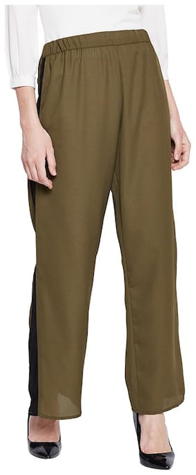 OXOLLOXO Women Regular fit Mid rise Solid Regular trousers - Green