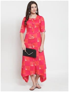 KIAASA Women Pink Printed A-Line Kurta