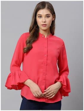 KIAASA Women Pink Solid Slim Fit Shirt
