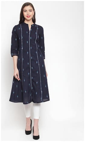 KIAASA Women Navy Blue Printed Straight Kurta