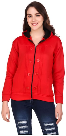 Kiba Retail Women Solid Regular fit Coat - Red