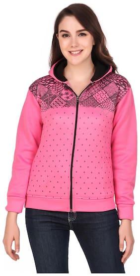 Kiba Retail Women Printed Hoodie - Pink