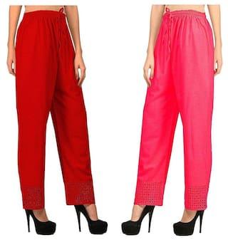 Kiba Retail Combo Of 2 Palazoo ( Red, Pink)