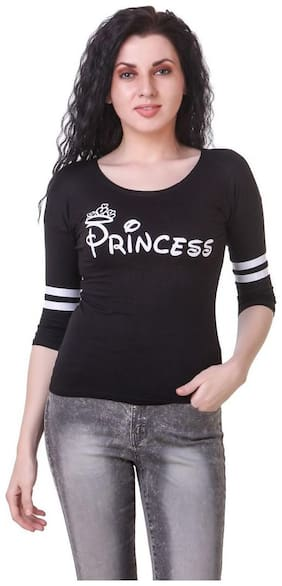 Kiba Retail Women Printed U neck T shirt - Black