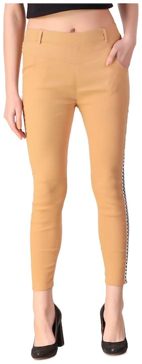Kiba Retail Women Skinny Fit Mid Rise Solid Jegging - Beige