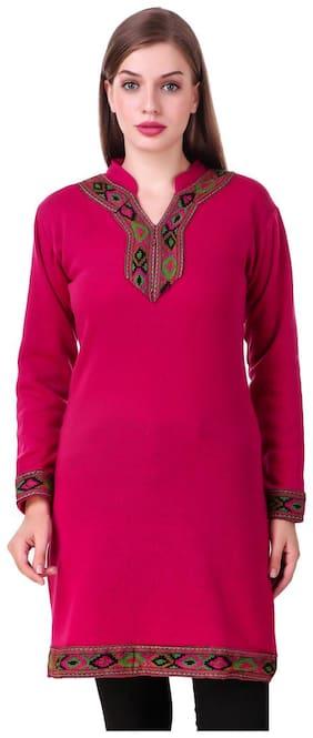 Kiba Retail casual wear wollen kurti for women and girls Pink