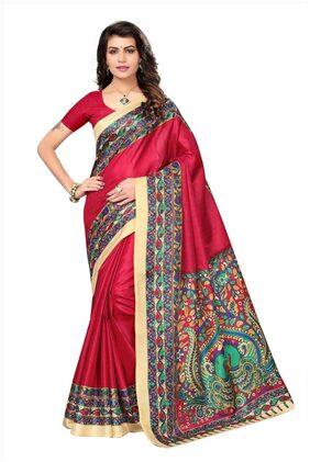 Kimisha Pink Khadi Silk Kalamkari Printed Saree