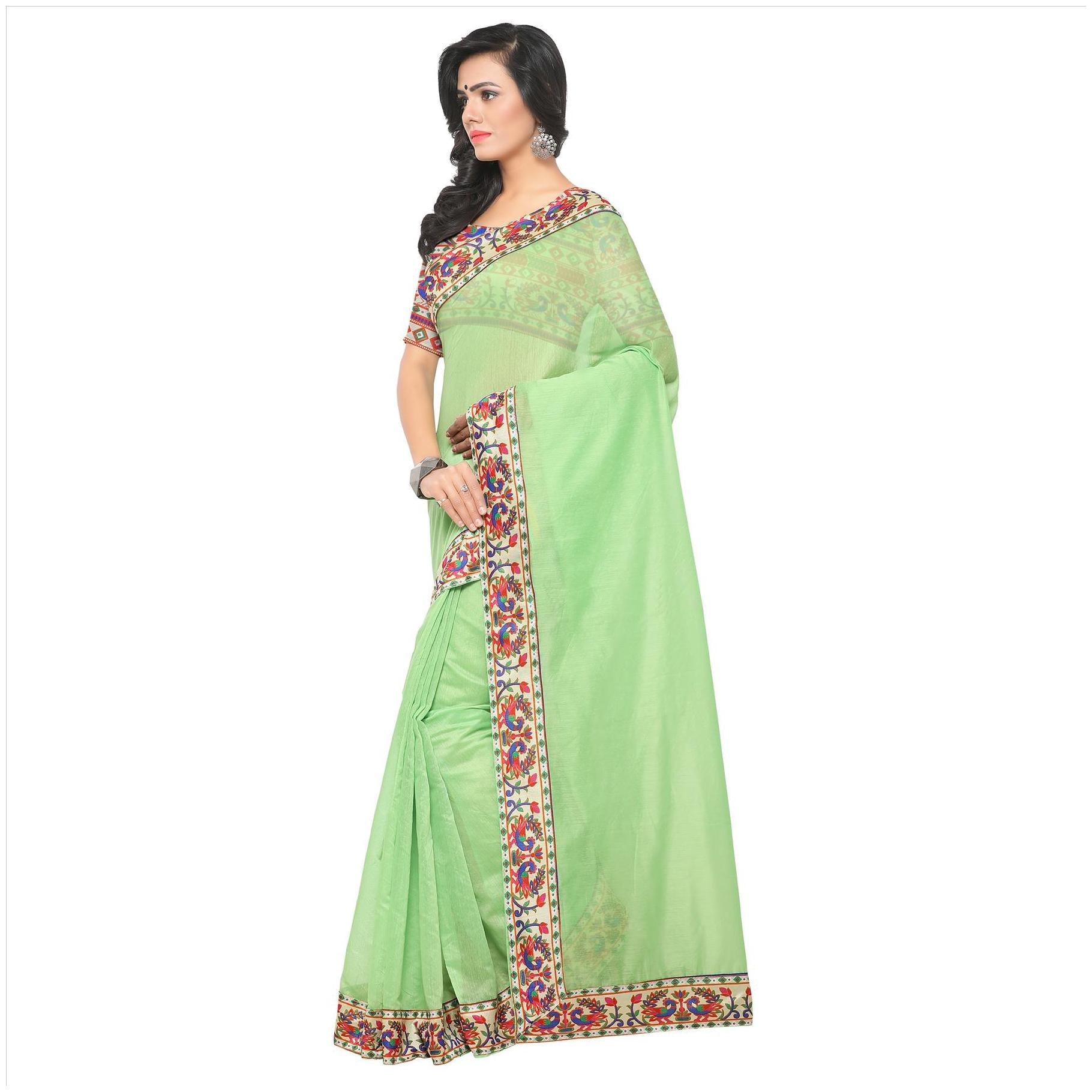 ed8e718985d35a Buy kimisha Silk Chanderi Lace Work Saree - Green Online at Low Prices in  India - Paytmmall.com