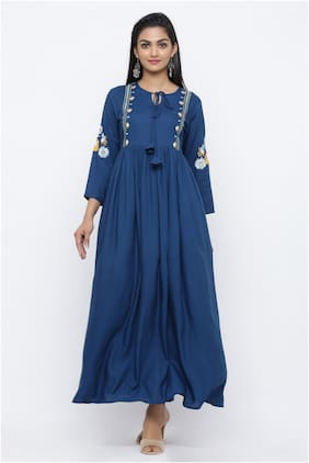 KIPEK Blue Embroidered Maxi dress