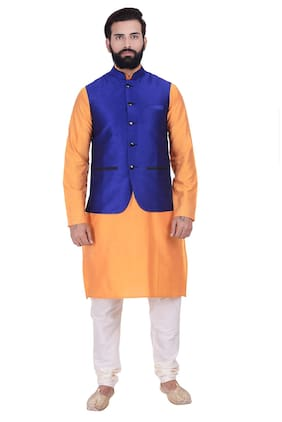 Kisah Cotton Silk Royal Blue & Yellow Men's Kurta Churidar And Jacket Set