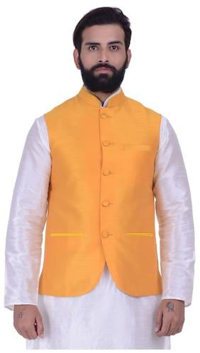 Kisah Men Regular Fit Silk Sleeveless Solid Ethnic Jackets - Yellow