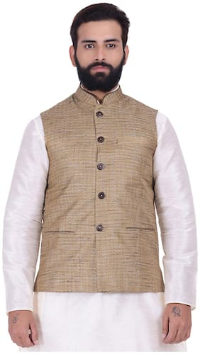 Kisah Khadi Jaquard Brown Men's Nehru Jacket