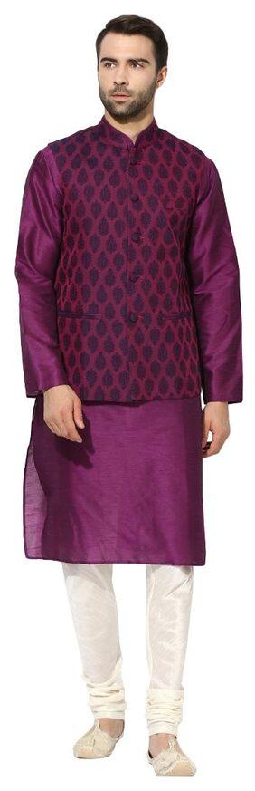 Kisah Men's Benarasi Cotton Silk Self Design Waistcoat with Kurta and Churidar Set