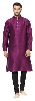 Kisah Men's Purple Dupion Silk Solid Coloured Kurta Churidar Set