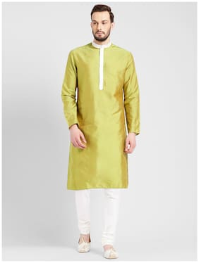 Kisah Men's Green Benarasi Cotton Silk Solid Coloured Kurta