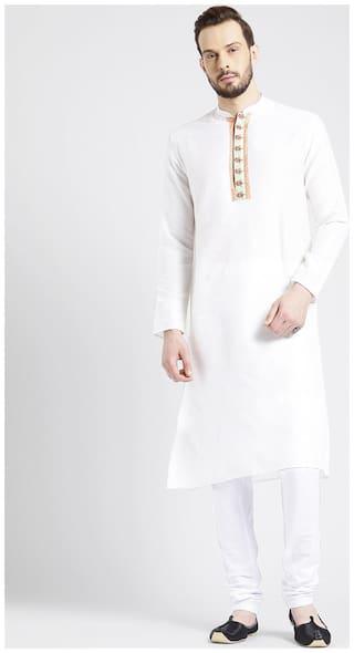 Kisah Men's Ivory Benarasi Jaquard Cotton Silk Embroidered Kurta Churidar Set