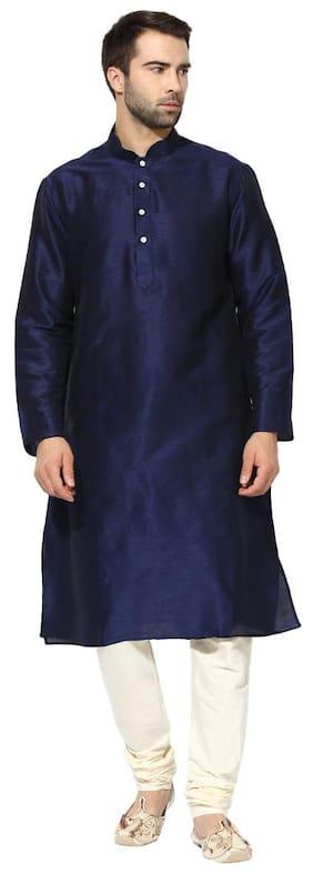 Kisah Men Regular Fit Silk Full Sleeves Solid Kurta Pyjama - Blue