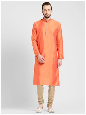 Kisah Men's Coral Benarasi Cotton Silk Solid Coloured Kurta
