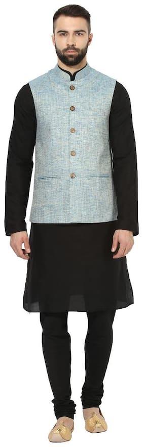 Kisah Men Regular fit Silk Full sleeves Solid Kurta Pyjama - Black