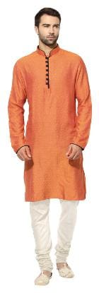 Kisah Men Regular fit Silk Full sleeves Solid Kurta Pyjama - Orange