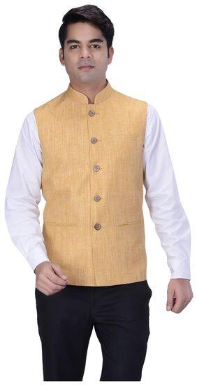 Kisah Men Regular Fit Silk Sleeveless Solid Ethnic Jackets - Orange