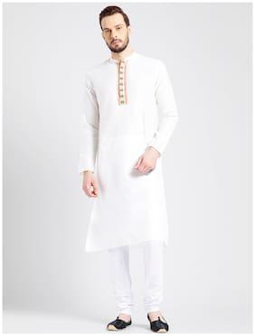 Kisah Men's Ivory Benarasi Jaquard Cotton Silk Embroidered Kurta