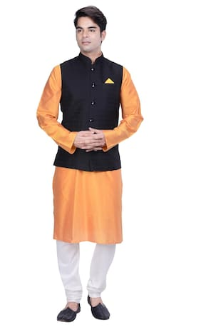 Kisah Men's Orange Cotton Silk Kurta And Churidar With Black Cotton Silk Nehru Jacket