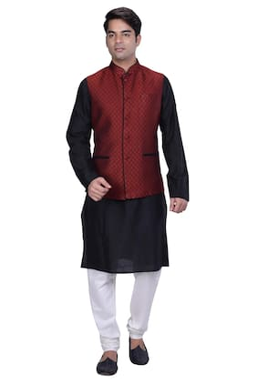 Kisah Men's Black Cotton Silk Kurta And Churidar With Red Cotton Silk Nehru Jacket
