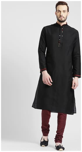 Kisah Men's Charcoal Benarasi Cotton Silk Solid Coloured Kurta Churidar Set