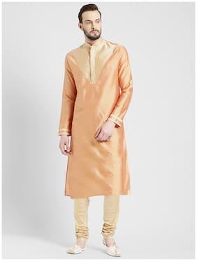Kisah Men Regular Fit Silk Full Sleeves Solid Kurta Pyjama - Pink
