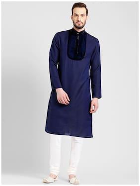 Kisah Men's Navy Benarasi Jaquard Cotton Silk Yoke Design Kurta