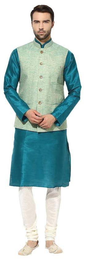 Kisah Men Regular Fit Silk Full Sleeves Solid Kurta Pyjama - Turquoise