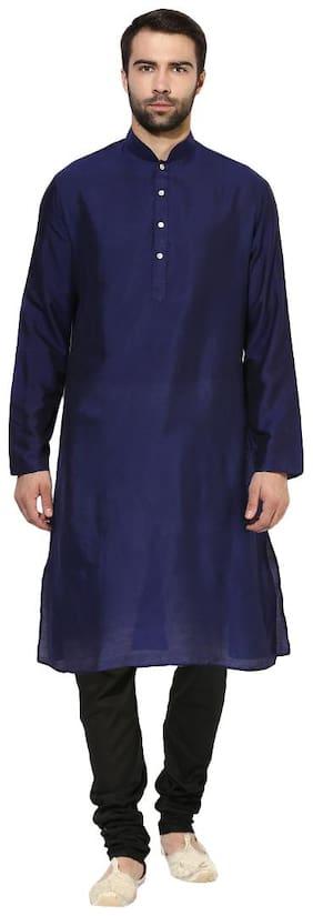 Kisah Men's Navy Benarasi Cotton Silk Solid Coloured Kurta Churidar Set