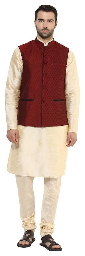 Kisah Men Regular Fit Silk Full Sleeves Solid Kurta Pyjama - Beige
