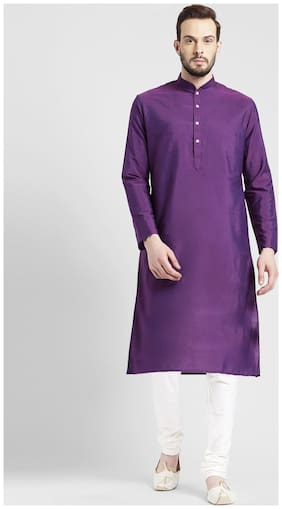 Kisah Men's Purple Benarasi Cotton Silk Solid Coloured Kurta Churidar Set