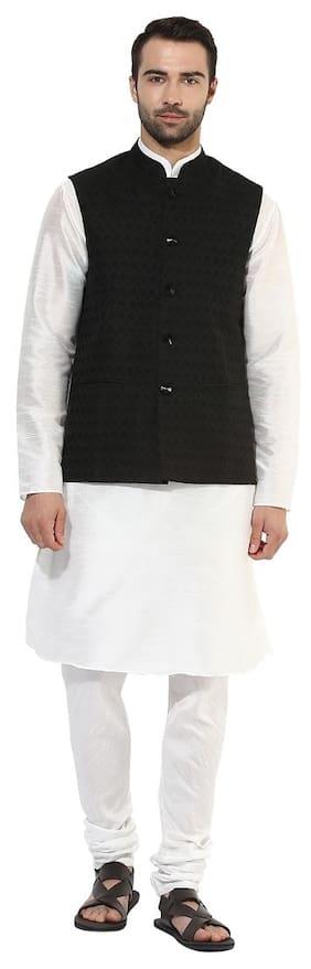Kisah Men Regular Fit Silk Full Sleeves Solid Kurta Pyjama - White
