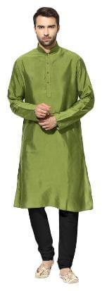 Kisah men's olive green benarasi cotton silk solid coloured kurta churidar set