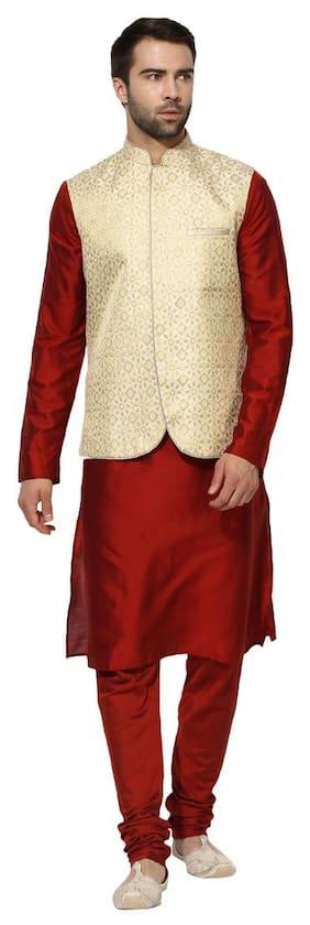 Kisah Men Regular Fit Silk Full Sleeves Printed Kurta Pyjama - Red
