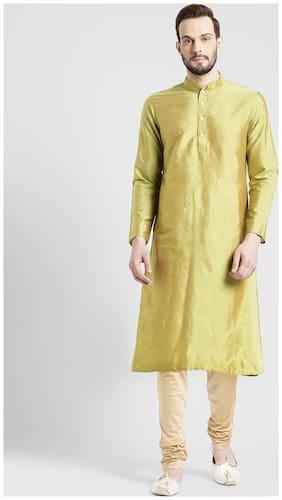 Kisah Men's Green Benarasi Cotton Silk Solid Coloured Kurta Churidar Set