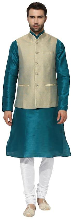 Kisah Men's Benarasi Cotton Silk Pista Green Waistcoat with Kurta and Churidar Set