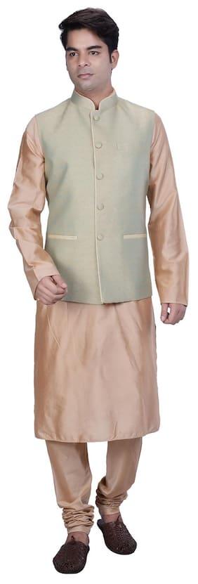 Kisah Men Regular Fit Silk Full Sleeves Solid Kurta Pyjama - Beige