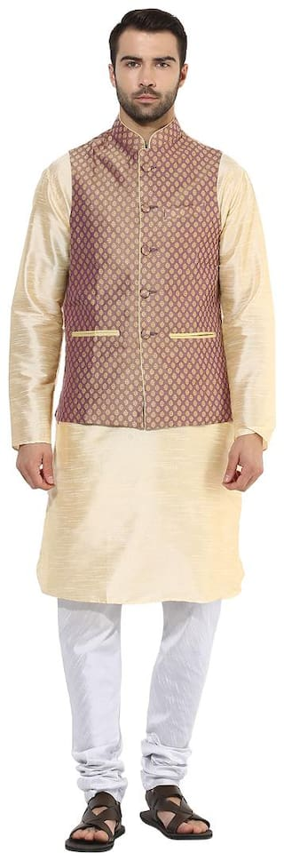 Kisah Men's Benarasi Cotton Silk mauve Waistcoat with Kurta and Churidar Set