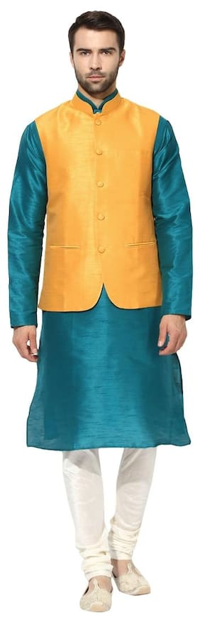Kisah Men Regular Fit Silk Full Sleeves Solid Kurta Pyjama - Turquoise