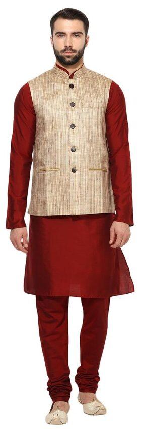 Kisah Men Regular Fit Silk Full Sleeves Solid Kurta Pyjama - Maroon