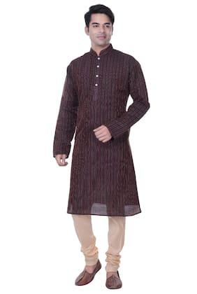 Kisah Men Regular Fit Dupion Full Sleeves Striped Kurta Pyjama - Brown