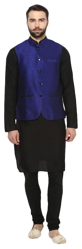 Kisah Men Regular Fit Silk Full Sleeves Solid Kurta Pyjama - Black